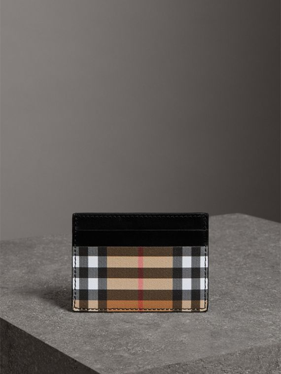 Vintage Check and Leather Card Case in Black | Burberry - cell image 3