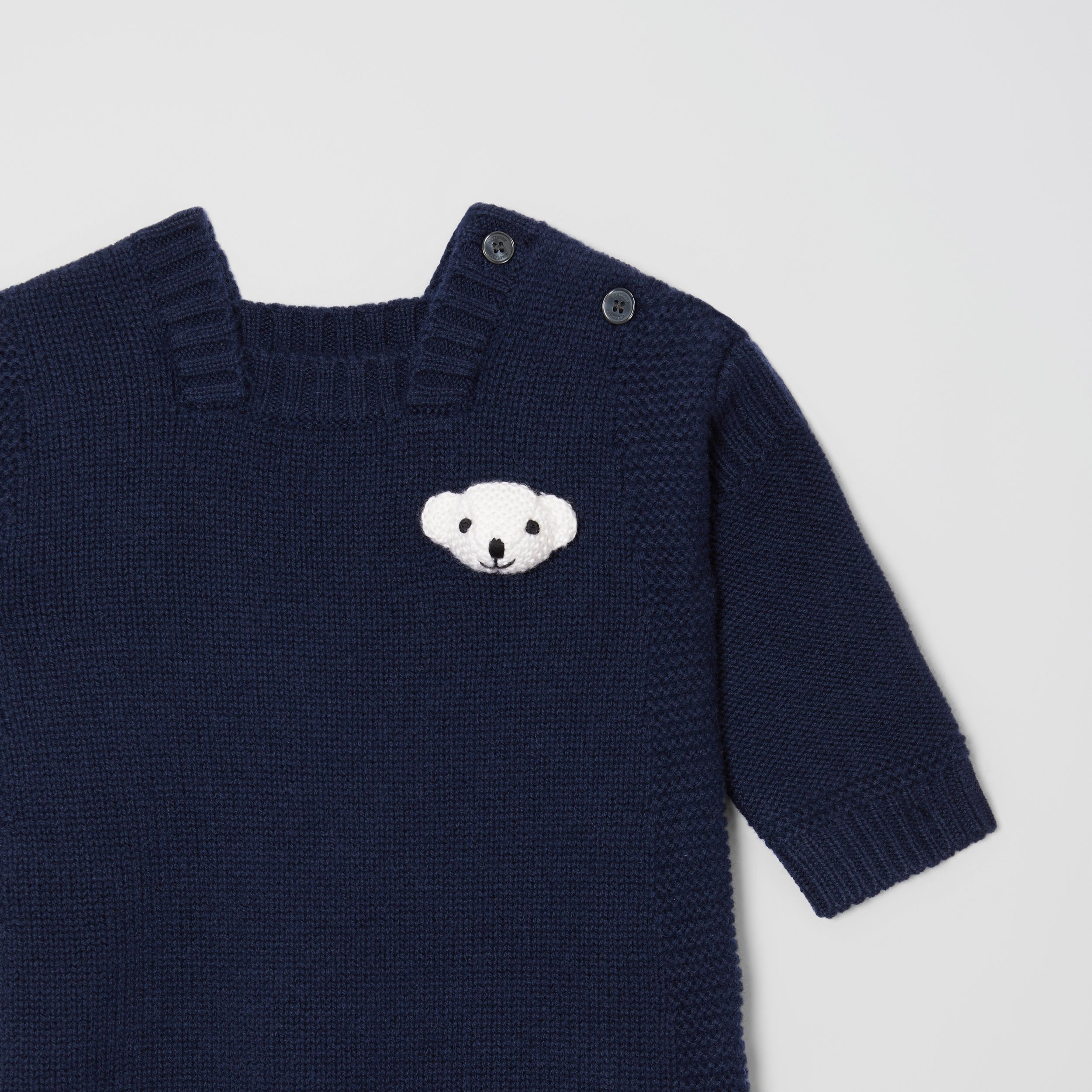 Thomas Bear Detail Wool Cashmere Jumpsuit in Navy - Children | Burberry - 4