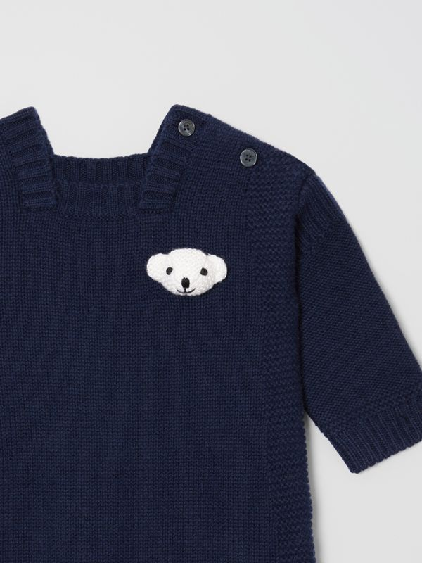 Thomas Bear Detail Wool Cashmere Jumpsuit in Navy - Children | Burberry United States - cell image 3