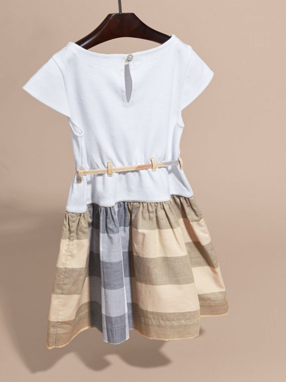 Check Cotton Dress with Cap Sleeves in Pale Stone - Girl | Burberry - cell image 3