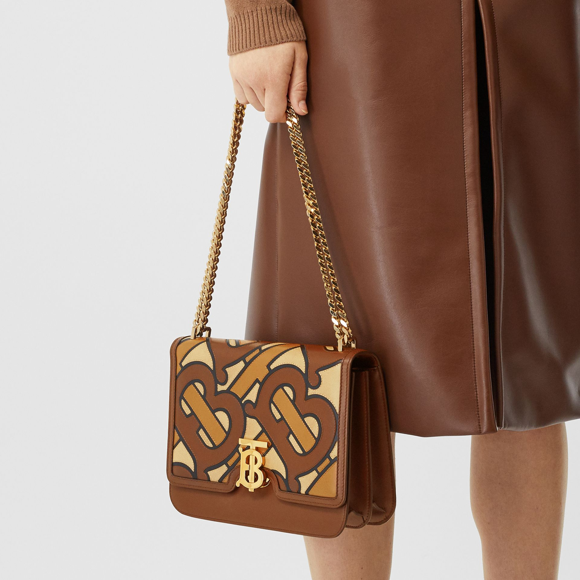 Medium Monogram Appliqué Leather TB Bag in Brown - Women | Burberry - gallery image 2