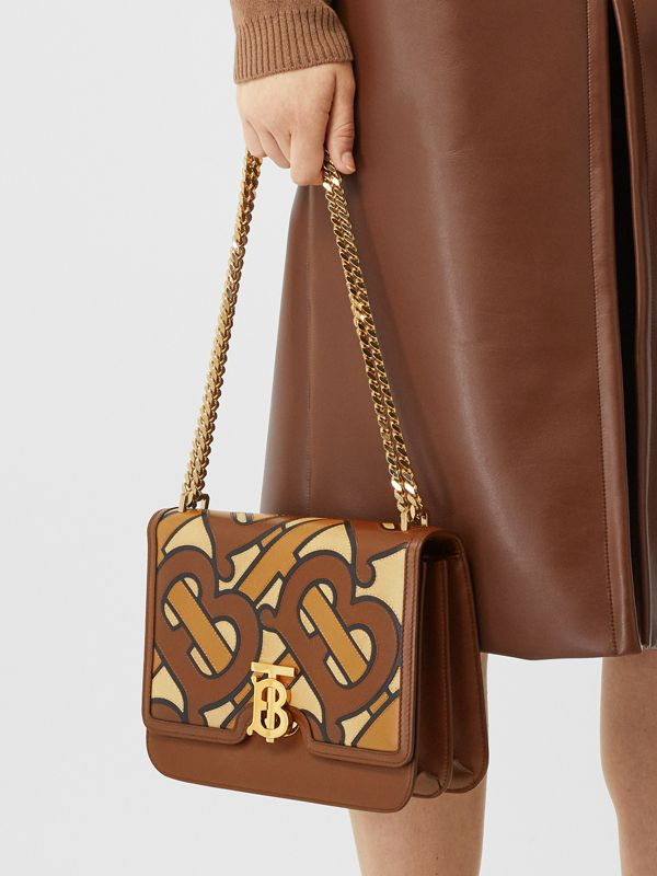 Medium Monogram Appliqué Leather TB Bag in Brown - Women | Burberry Canada - cell image 2