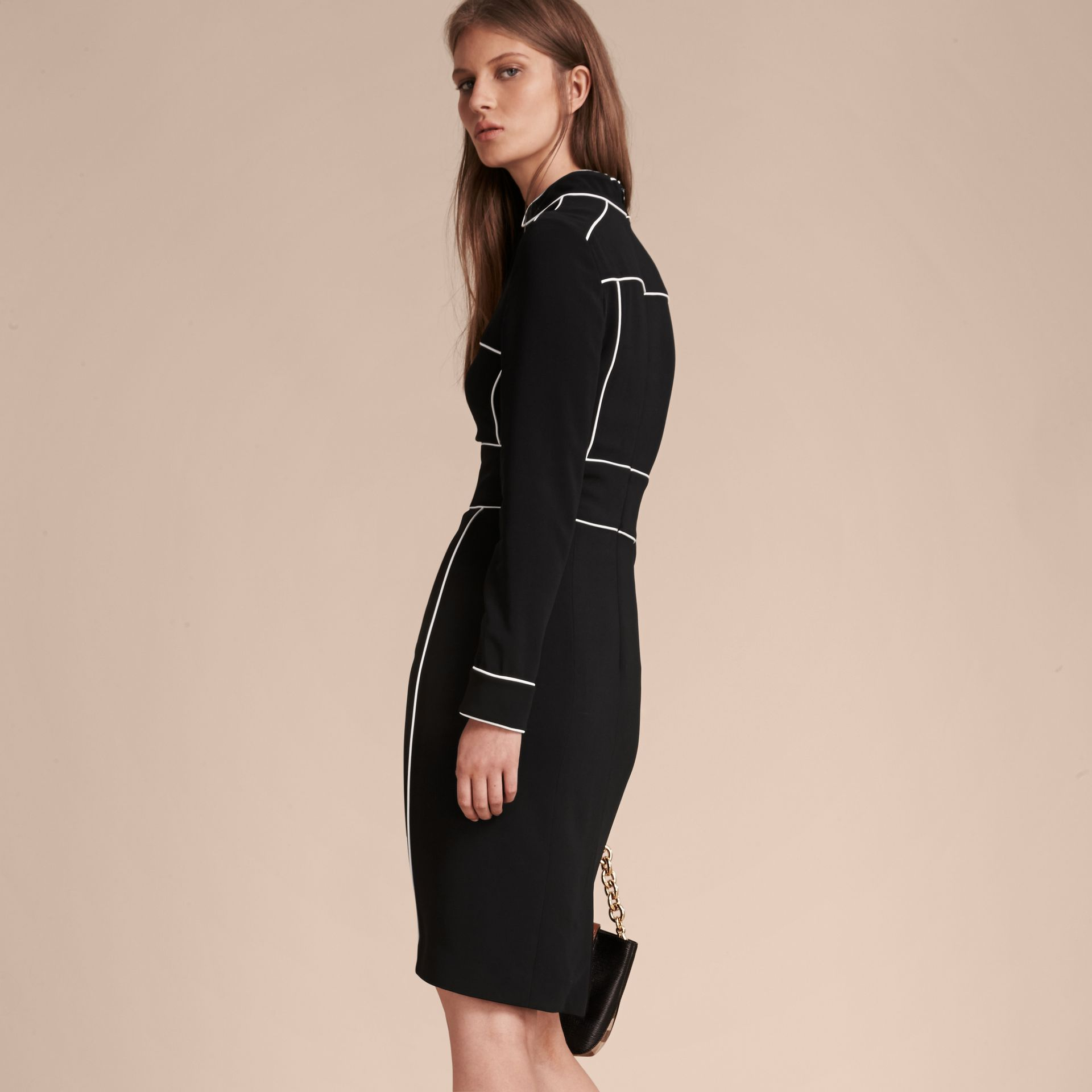 Black Long-sleeved Fitted Dress with Piping Detail - gallery image 3