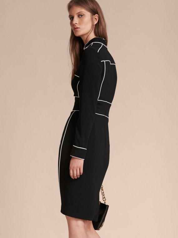 Black Long-sleeved Fitted Dress with Piping Detail - cell image 2