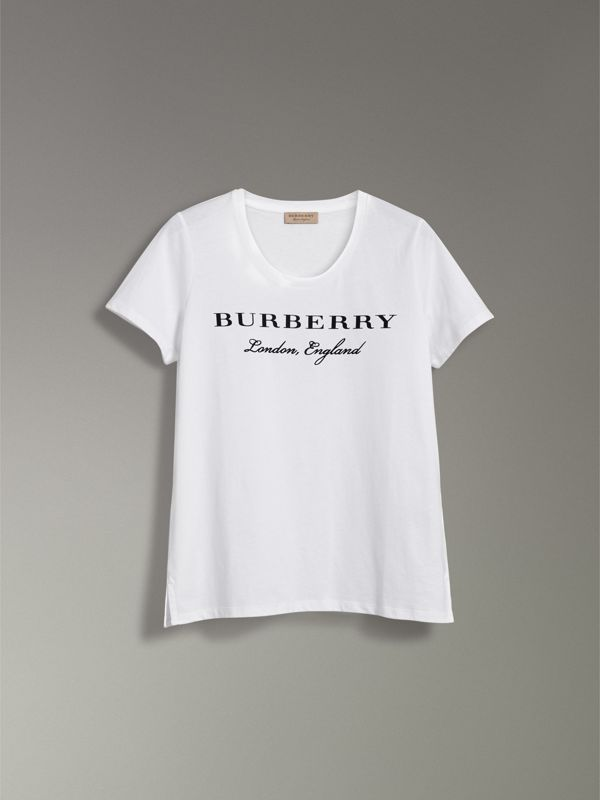 Printed Cotton T-shirt in White - Women | Burberry - cell image 3
