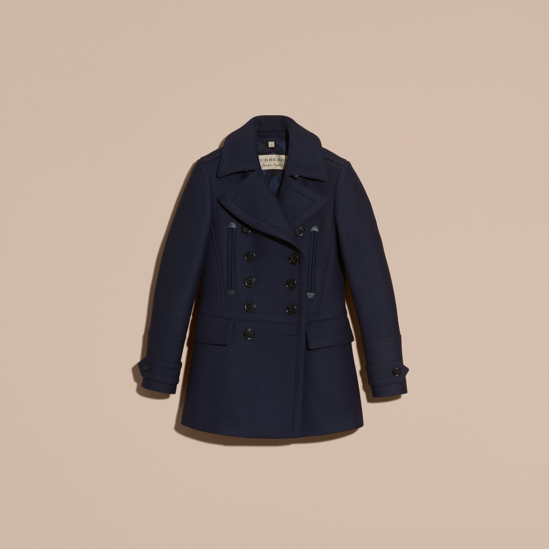 Navy Wool Cashmere Blend Military Pea Coat - gallery image 4