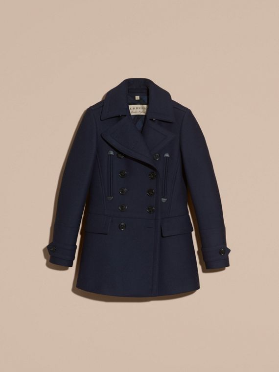 Navy Wool Cashmere Blend Military Pea Coat - cell image 3