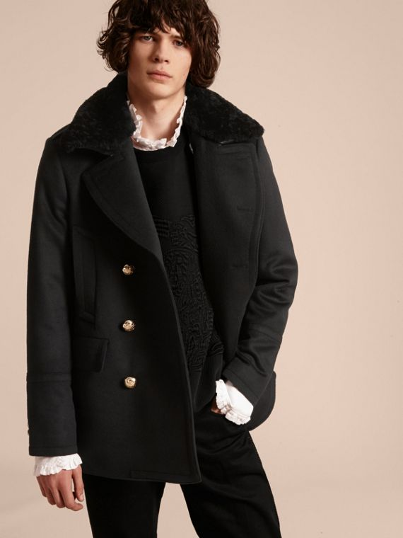 Pea coat militare con collo amovibile in shearling