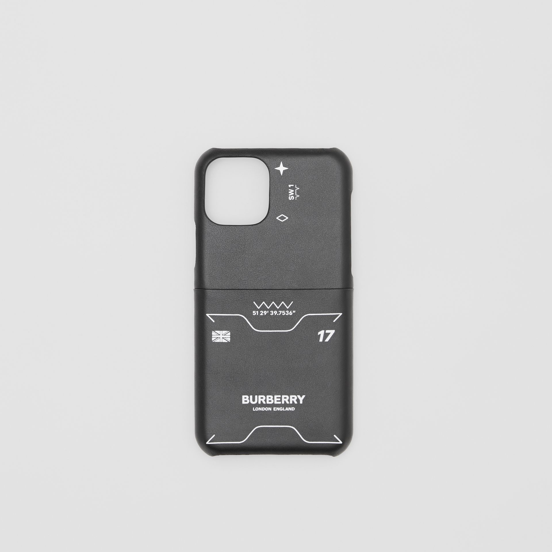 Symbol Print Leather iPhone 11 Pro Case in Black - Men | Burberry - gallery image 0