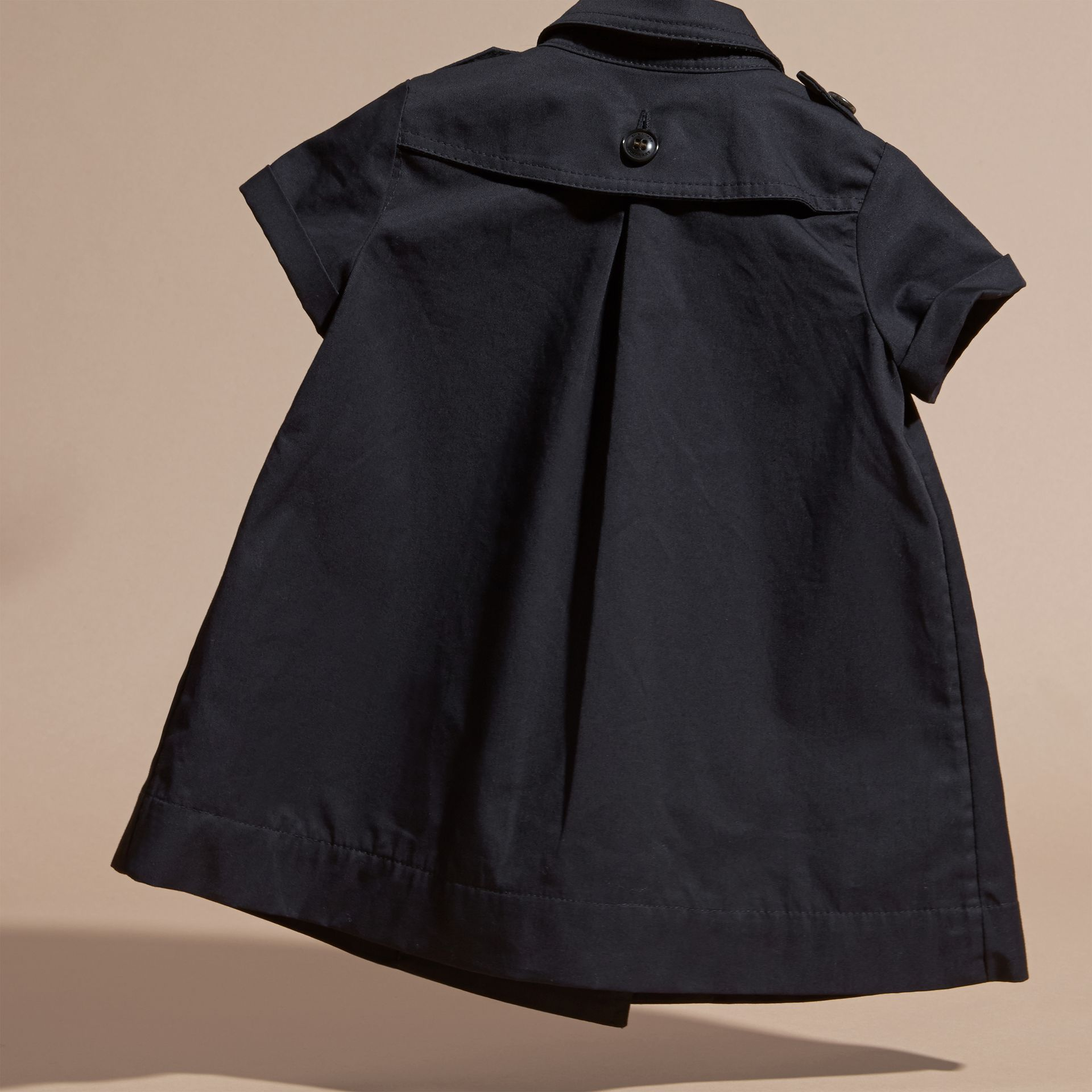 Navy Cotton Trench Dress Navy - gallery image 4