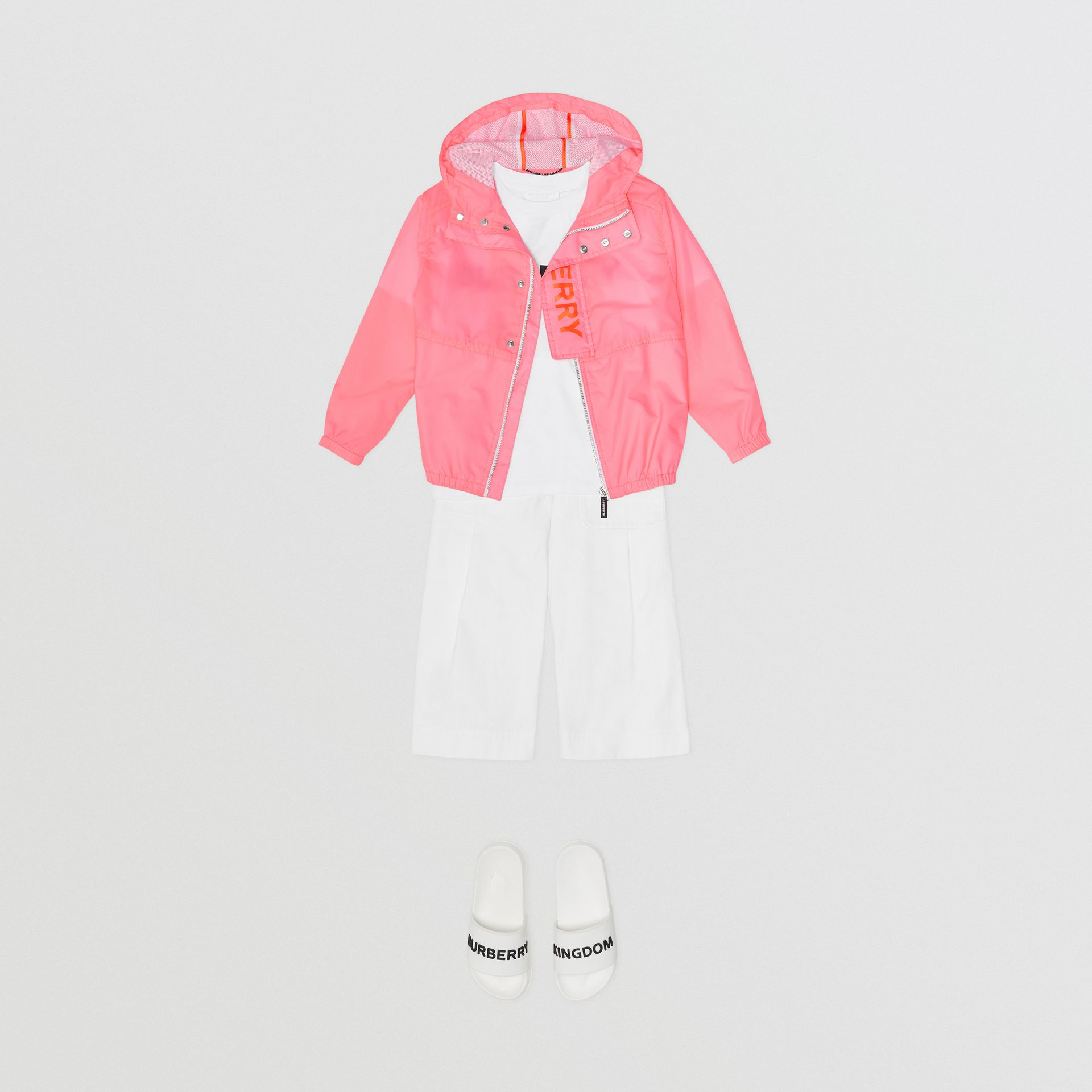 Logo Print Lightweight Hooded Jacket in Bright Rose | Burberry - gallery image 2
