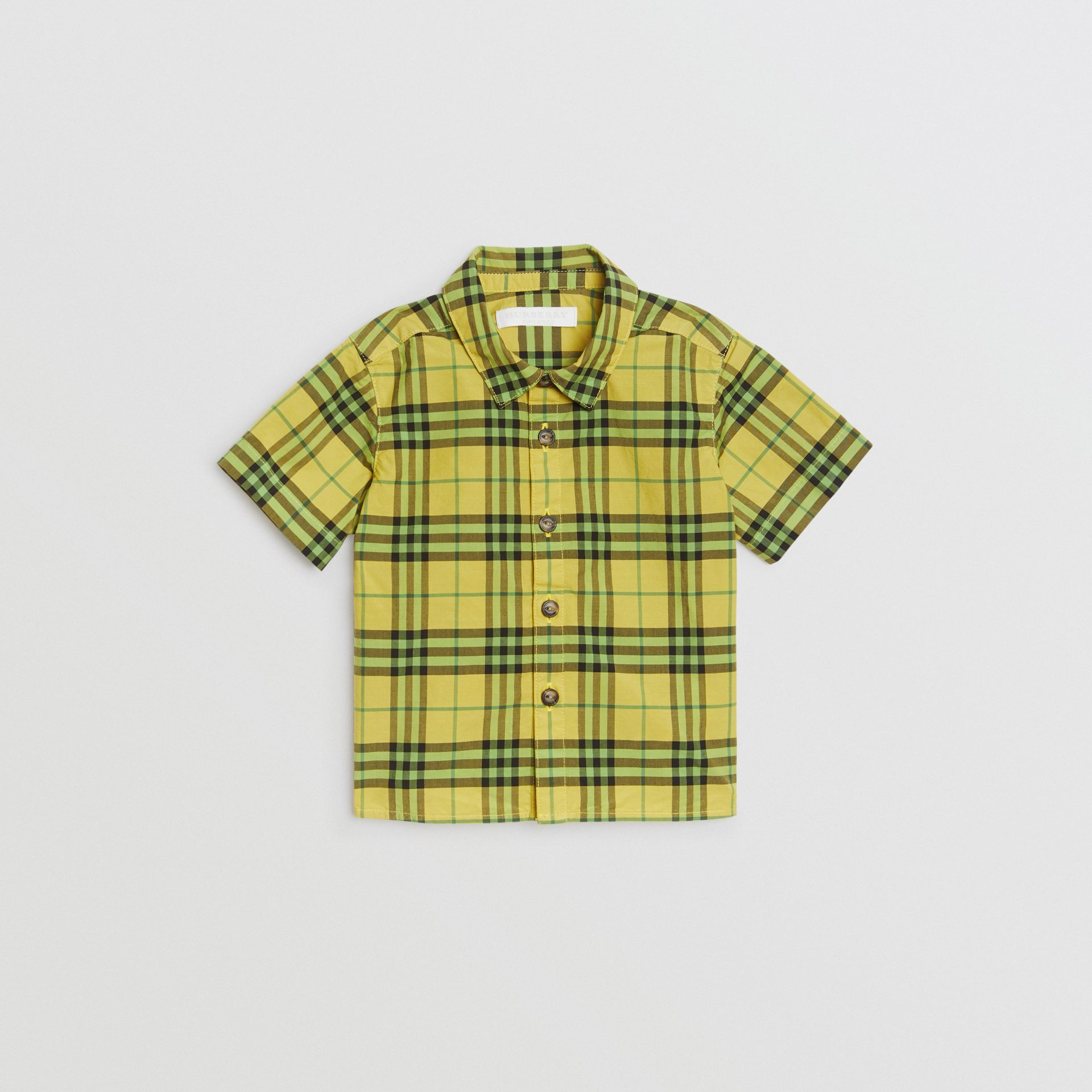 Short-sleeve Check Cotton Shirt in Citron - Children | Burberry Australia - gallery image 0
