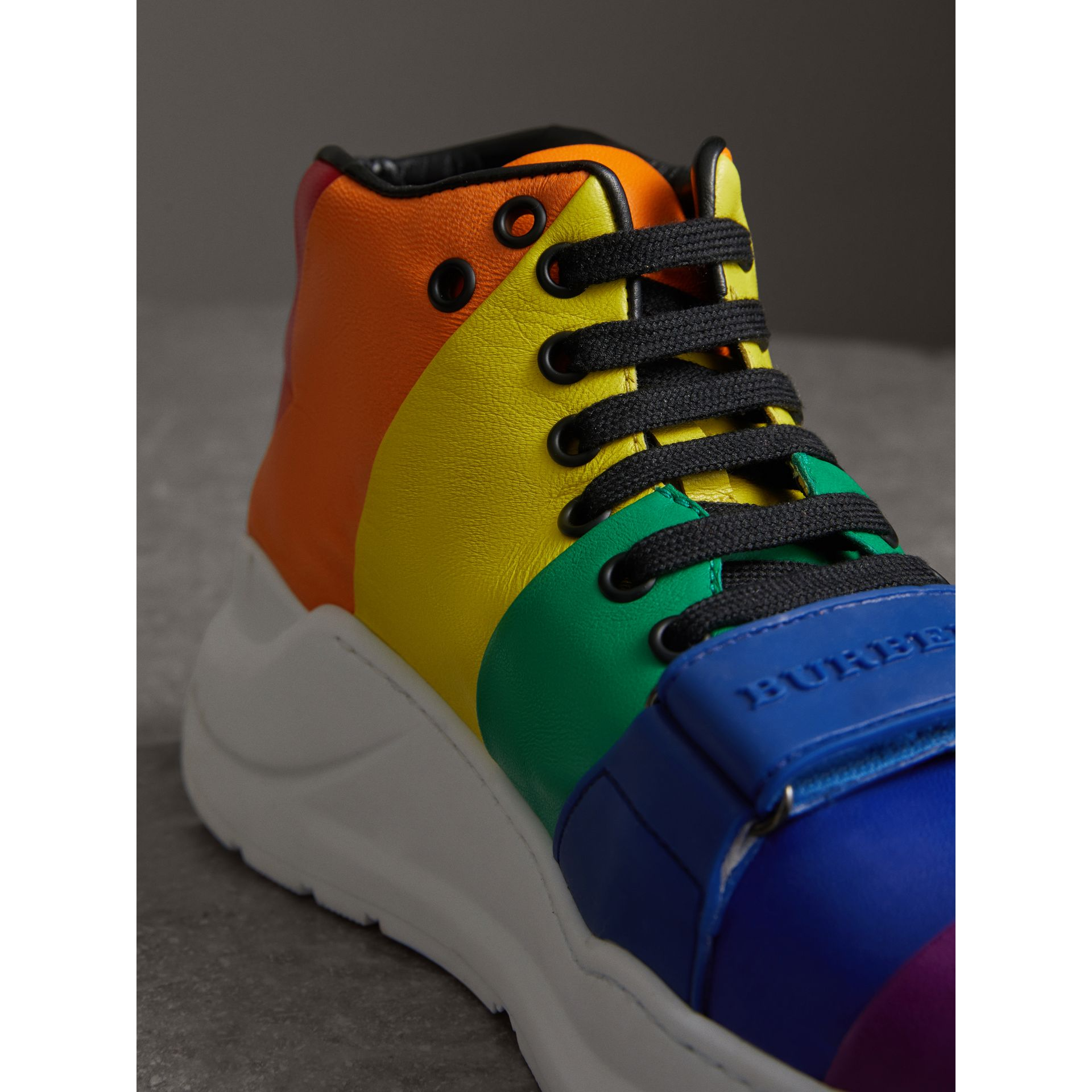 Rainbow Leather High-top Sneakers - Women | Burberry - gallery image 1