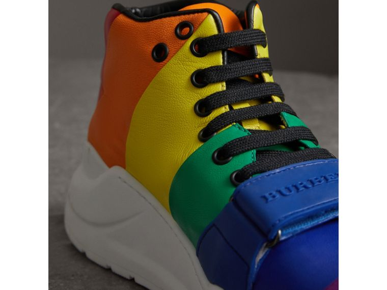 Rainbow Leather High-top Sneakers - Women | Burberry - cell image 1