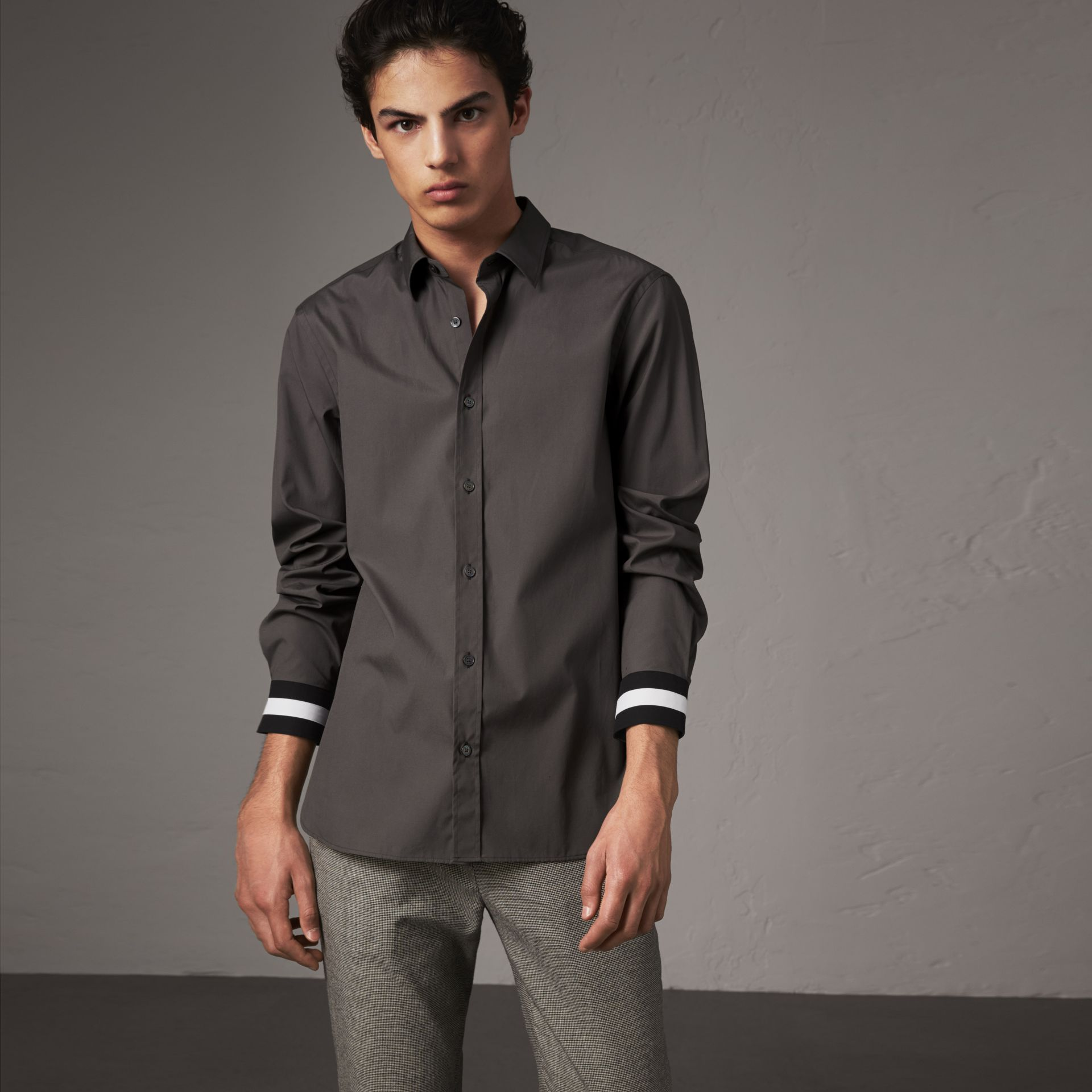 Striped Cuff Stretch Cotton Shirt in Stone Grey - Men | Burberry United Kingdom - gallery image 0