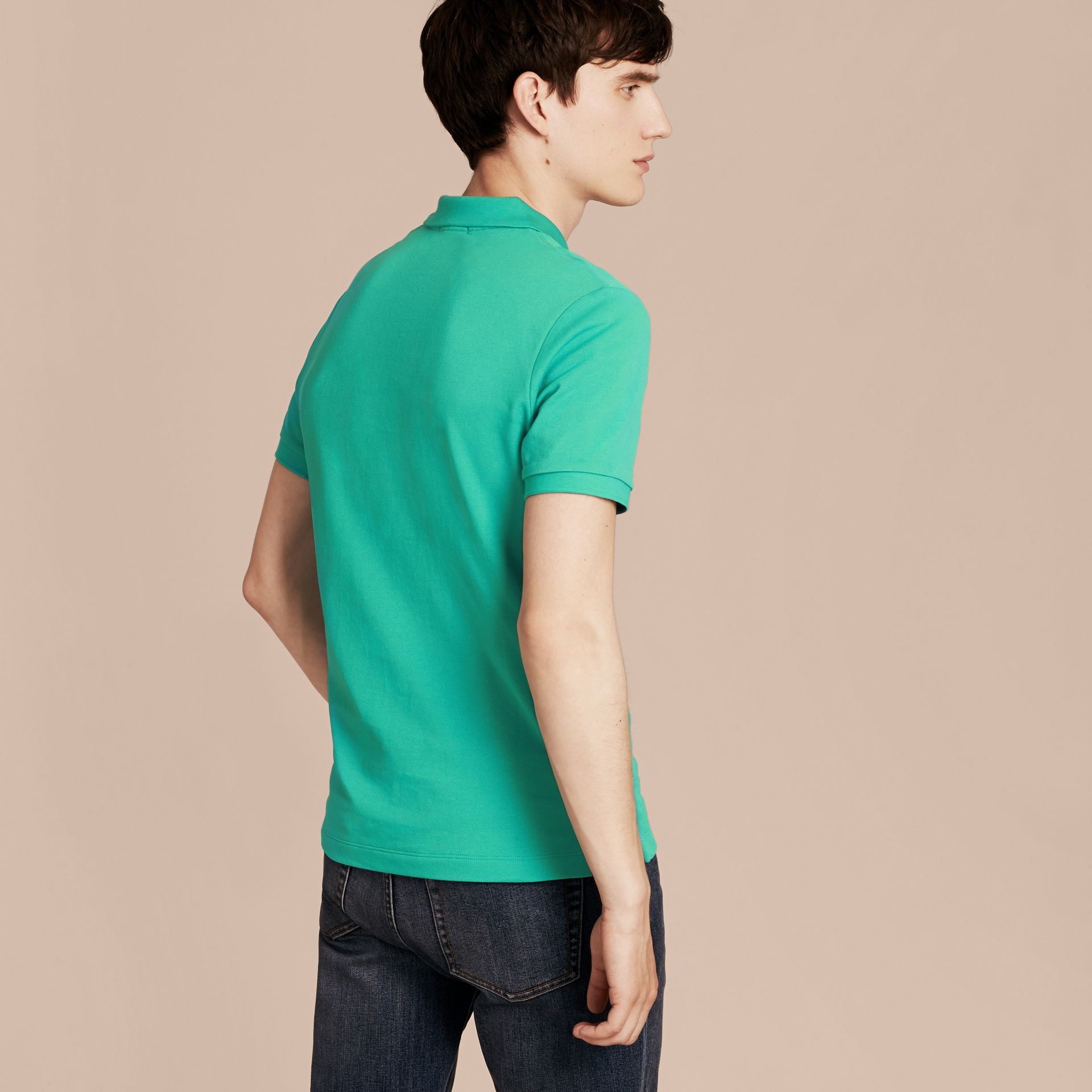 Cyan green Check Placket Cotton Piqué Polo Shirt Cyan Green - gallery image 3