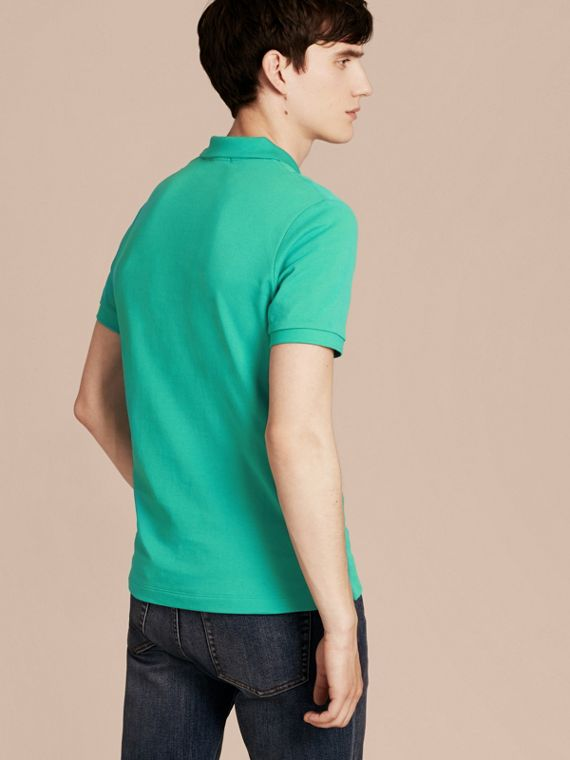 Cyan green Check Placket Cotton Piqué Polo Shirt Cyan Green - cell image 2