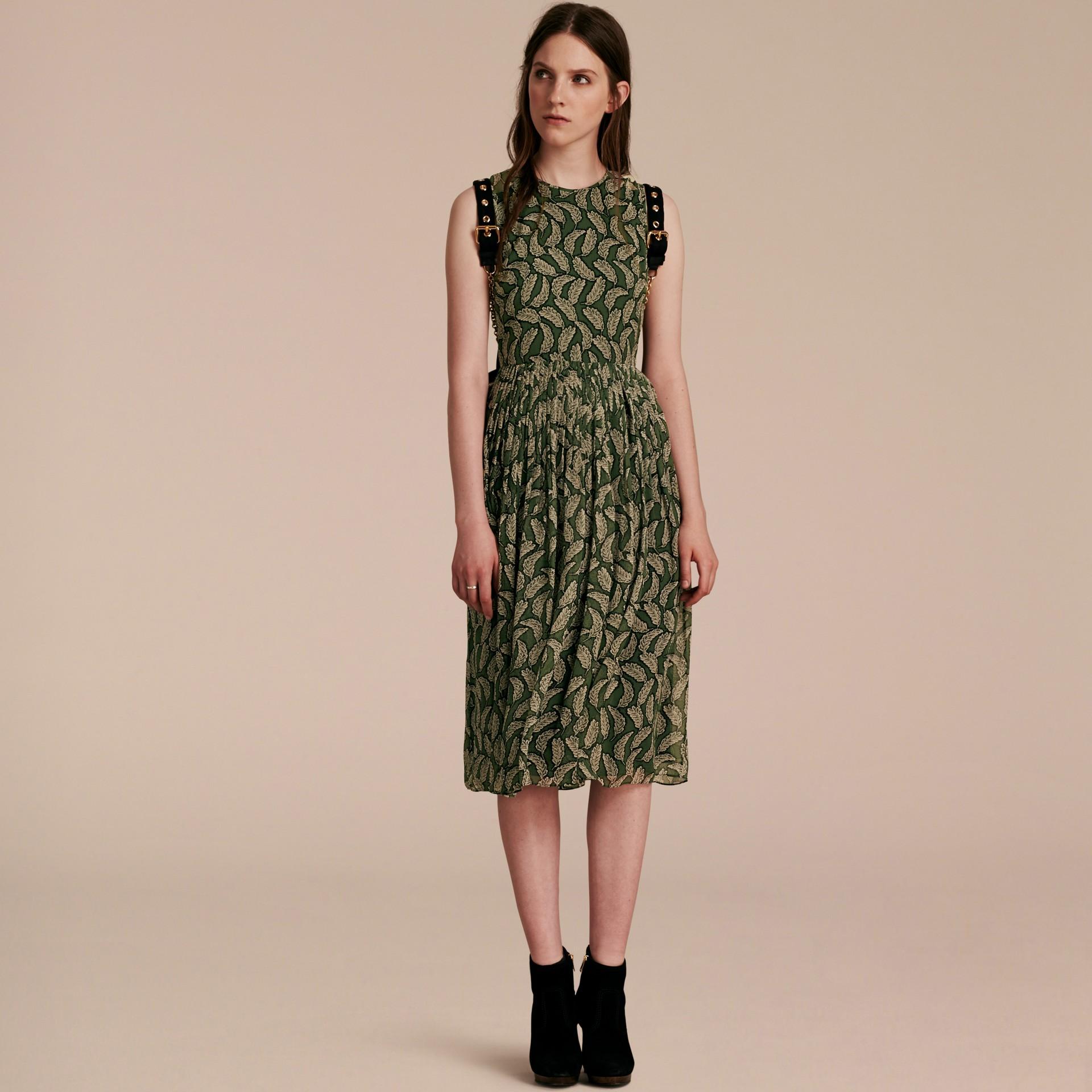 Dusty green Leaf Print Silk Midi Dress - gallery image 6