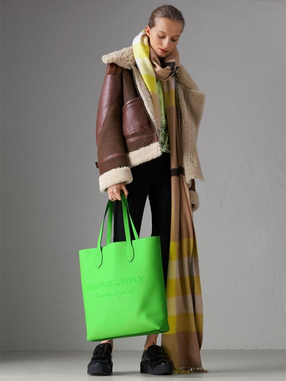 Embossed Leather Tote in Neon Green | Burberry Australia - cell image 2