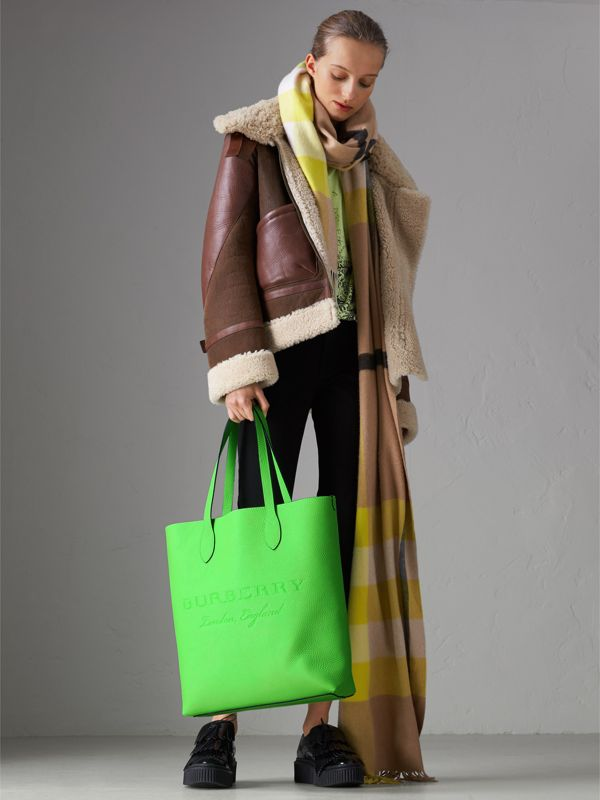 Embossed Leather Tote in Neon Green | Burberry - cell image 2