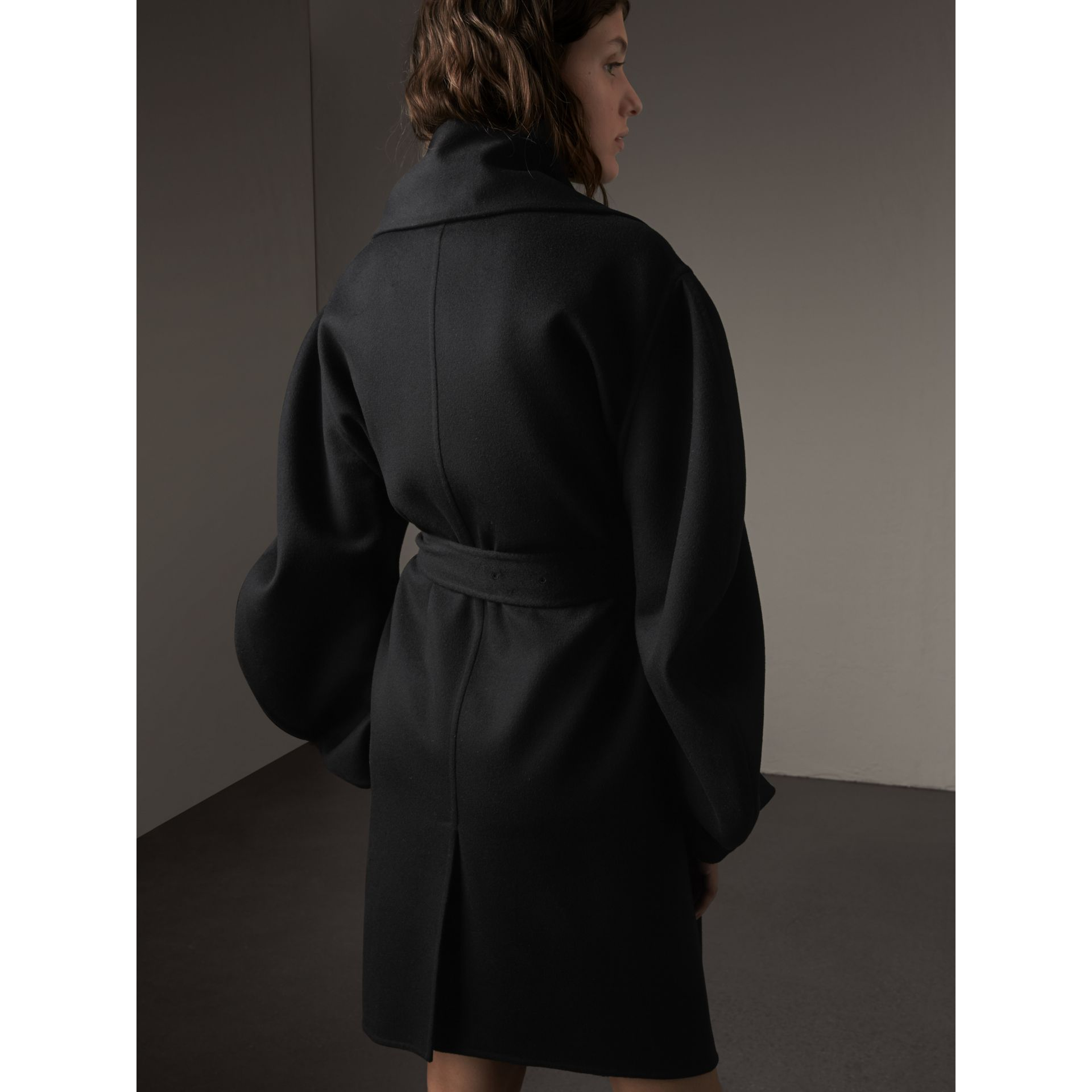 Double-faced Wool Cashmere Sculptural Coat in Black - Women | Burberry - gallery image 2