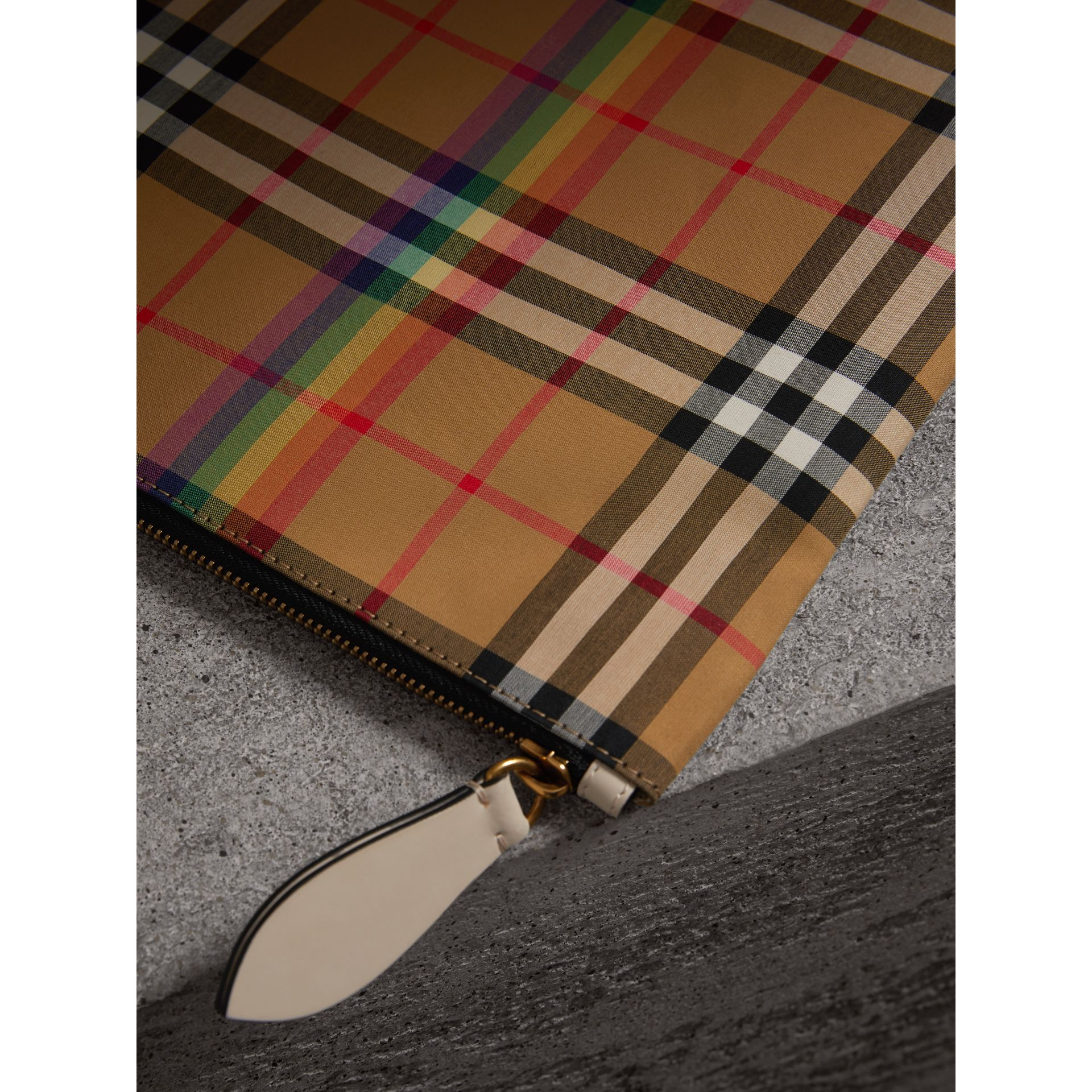 Medium Rainbow Vintage Check Pouch in Natural | Burberry United States - gallery image 1