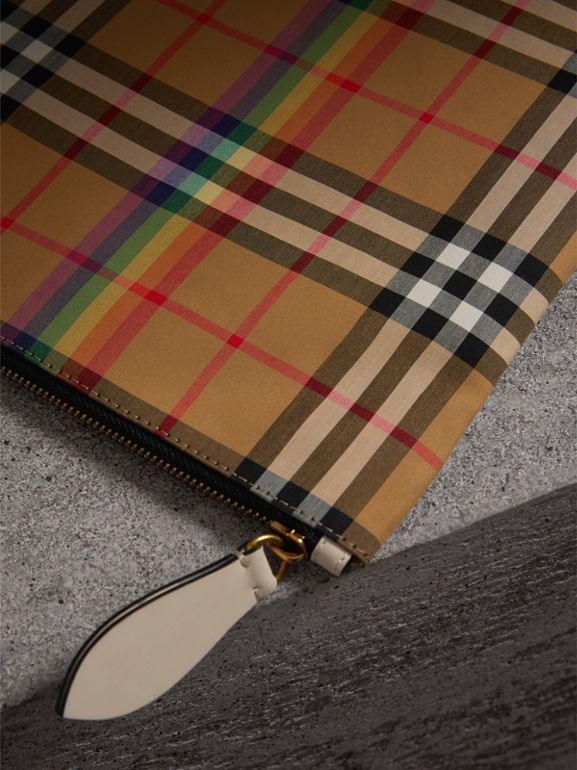 Medium Rainbow Vintage Check Pouch in Natural | Burberry United States - cell image 1