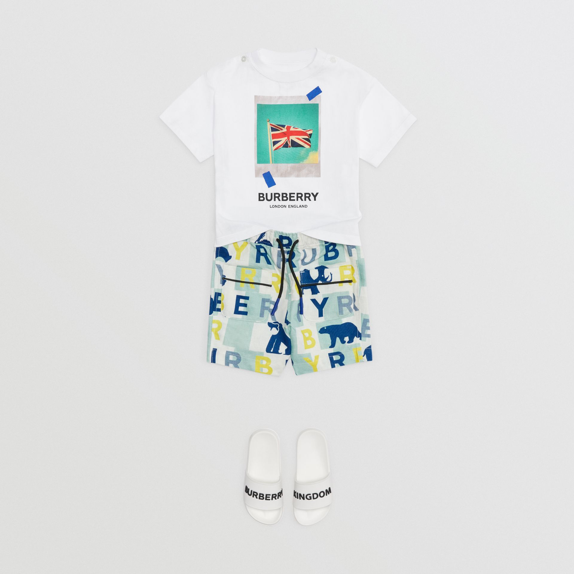 Polaroid Print Cotton T-shirt in White - Children | Burberry Australia - gallery image 2