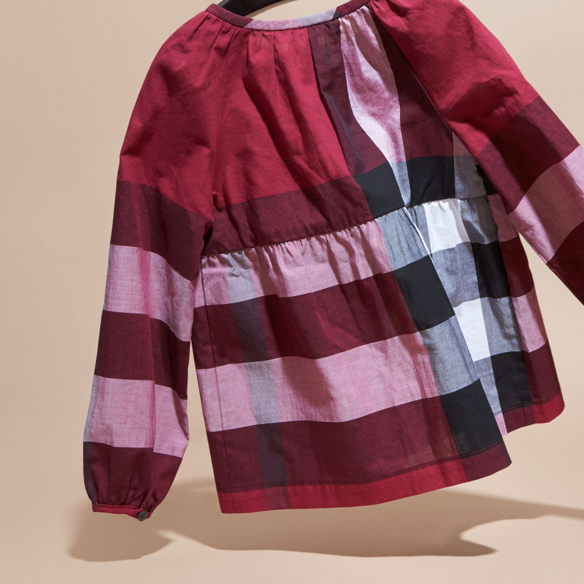 Dark plum pink Puff Sleeve Check Cotton Blouse Dark Plum Pink - gallery image 4