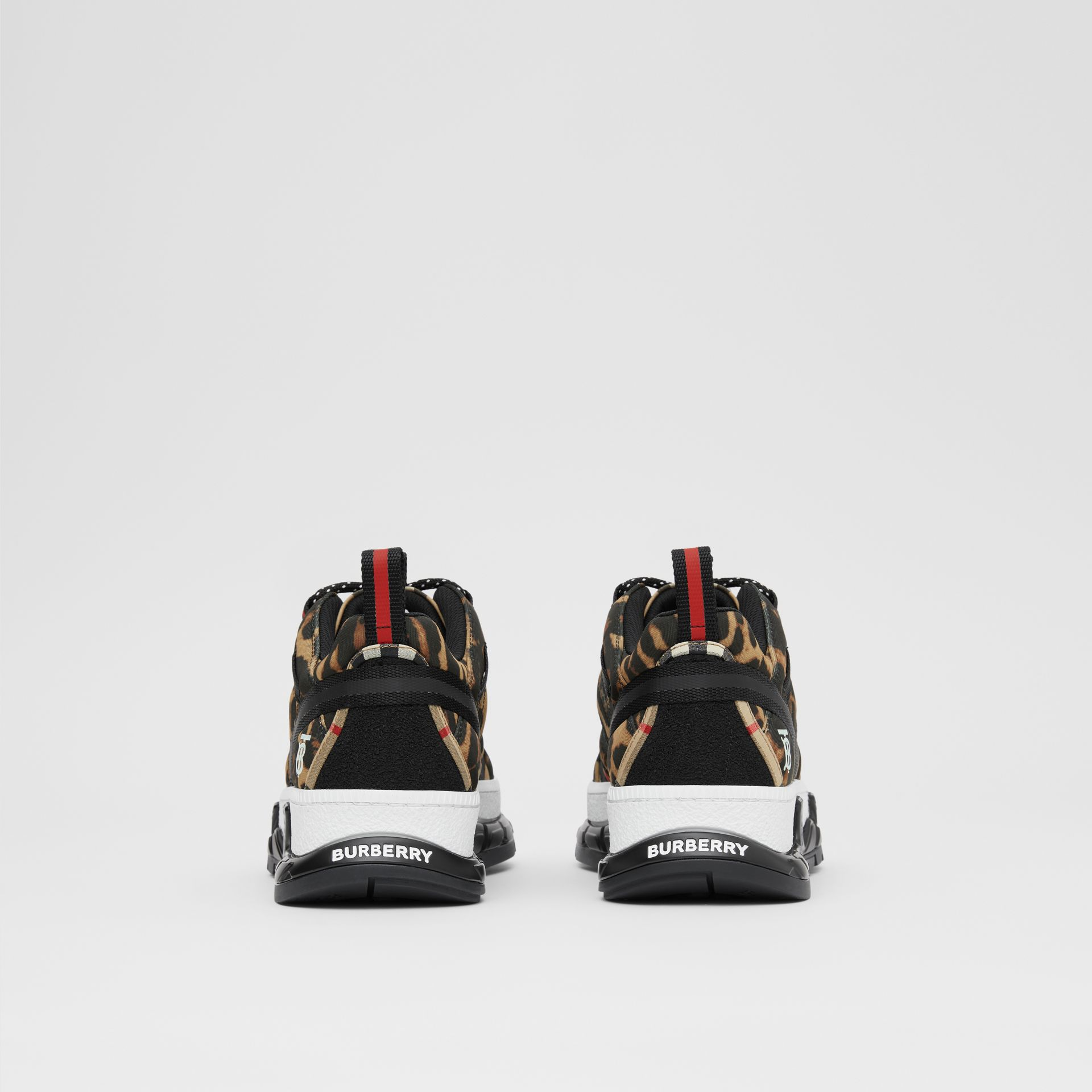 Leopard Print Neoprene and Cotton Union Sneakers in Archive Beige - Women | Burberry United States - gallery image 3