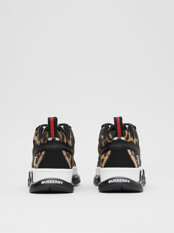 Leopard Print Neoprene and Cotton Union Sneakers in Archive Beige - Women | Burberry United States - cell image 3