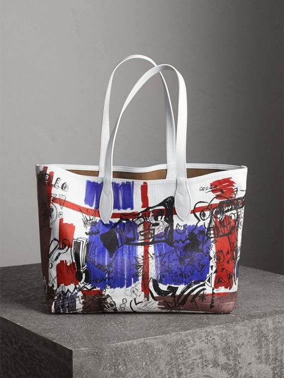 The Medium Reversible Doodle Tote in White