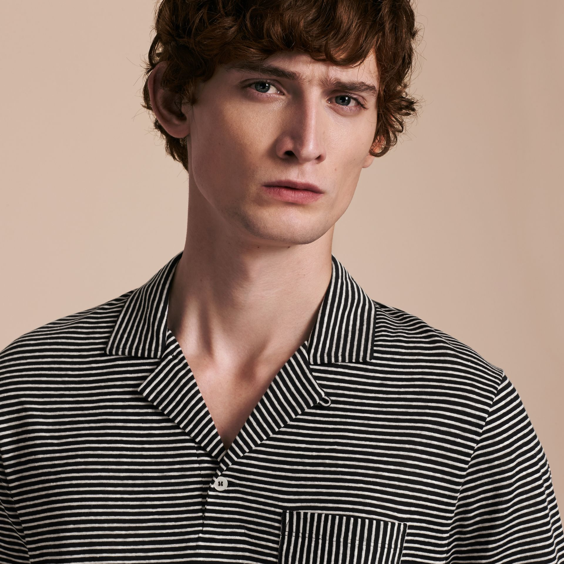 Striped Cotton Linen Polo Shirt - gallery image 5