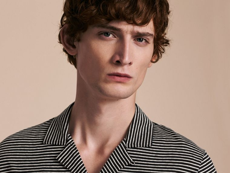 Striped Cotton Linen Polo Shirt - cell image 4
