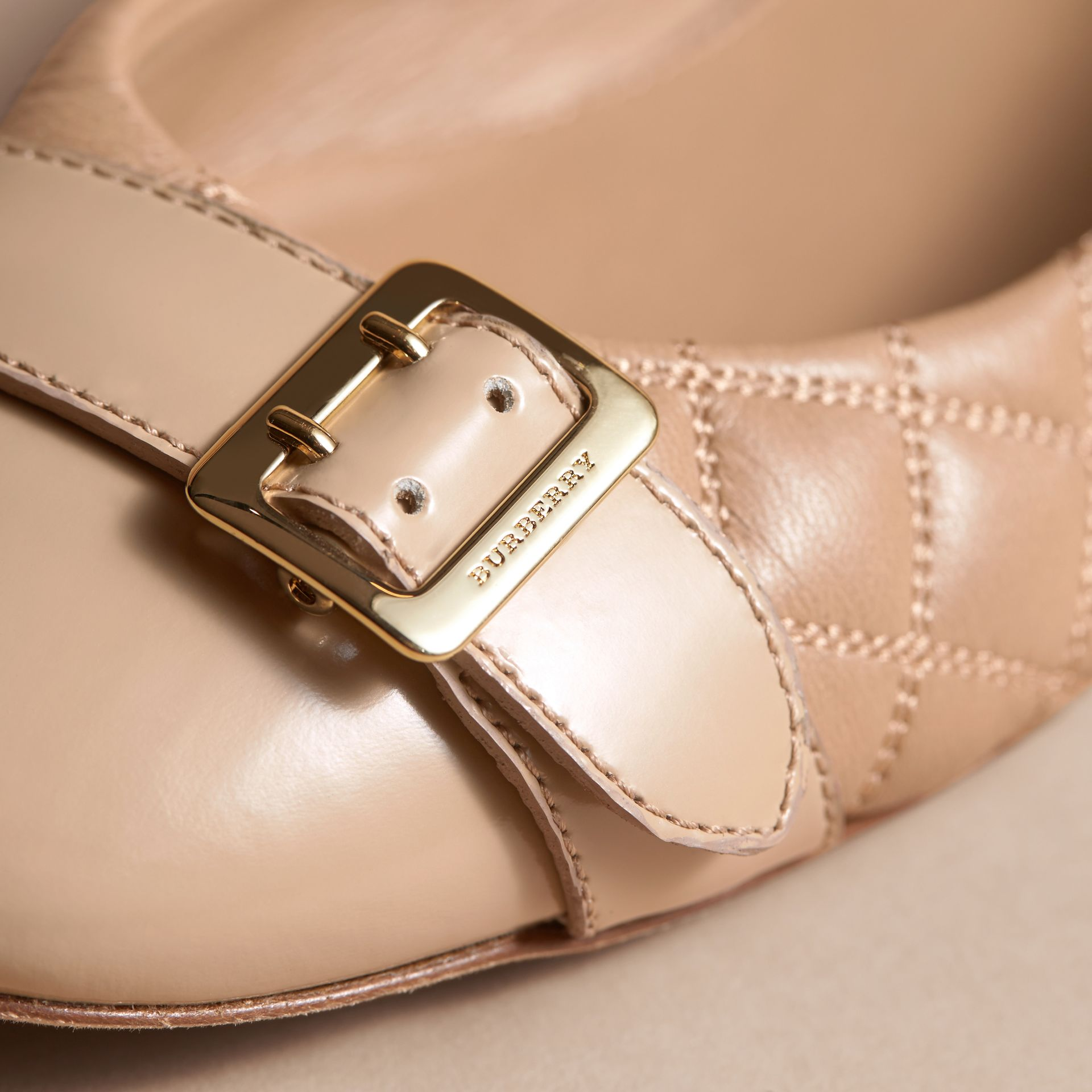 Buckle Detail Quilted Lambskin Leather Ballerinas in Honey - Women | Burberry - gallery image 2