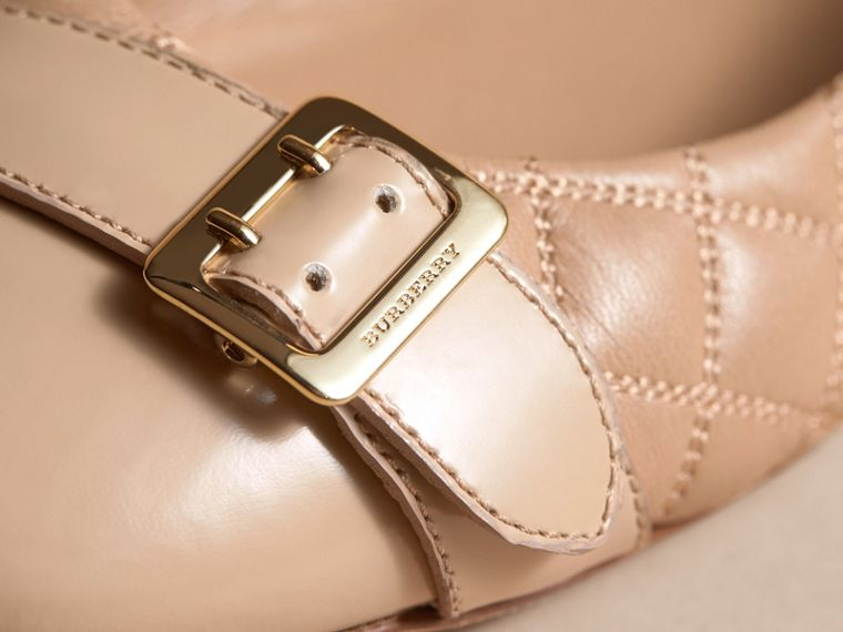Buckle Detail Quilted Lambskin Leather Ballerinas in Honey - Women | Burberry - cell image 1