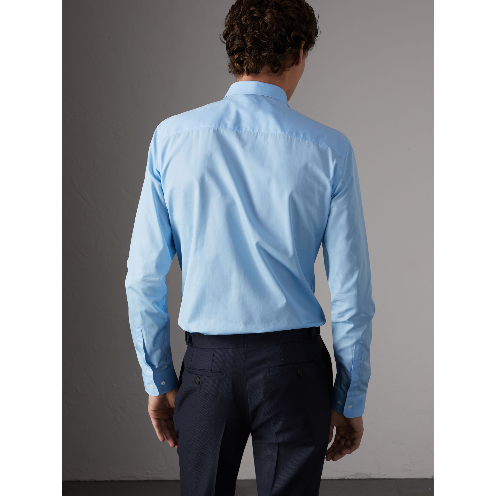 Slim Fit Cotton Poplin Shirt in City Blue - Men | Burberry United Kingdom - gallery image 2