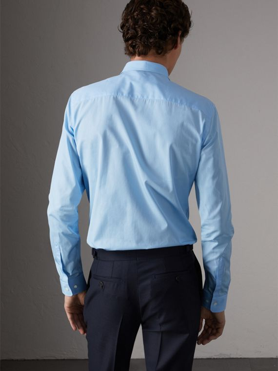 Slim Fit Cotton Poplin Shirt in City Blue - Men | Burberry United Kingdom - cell image 2