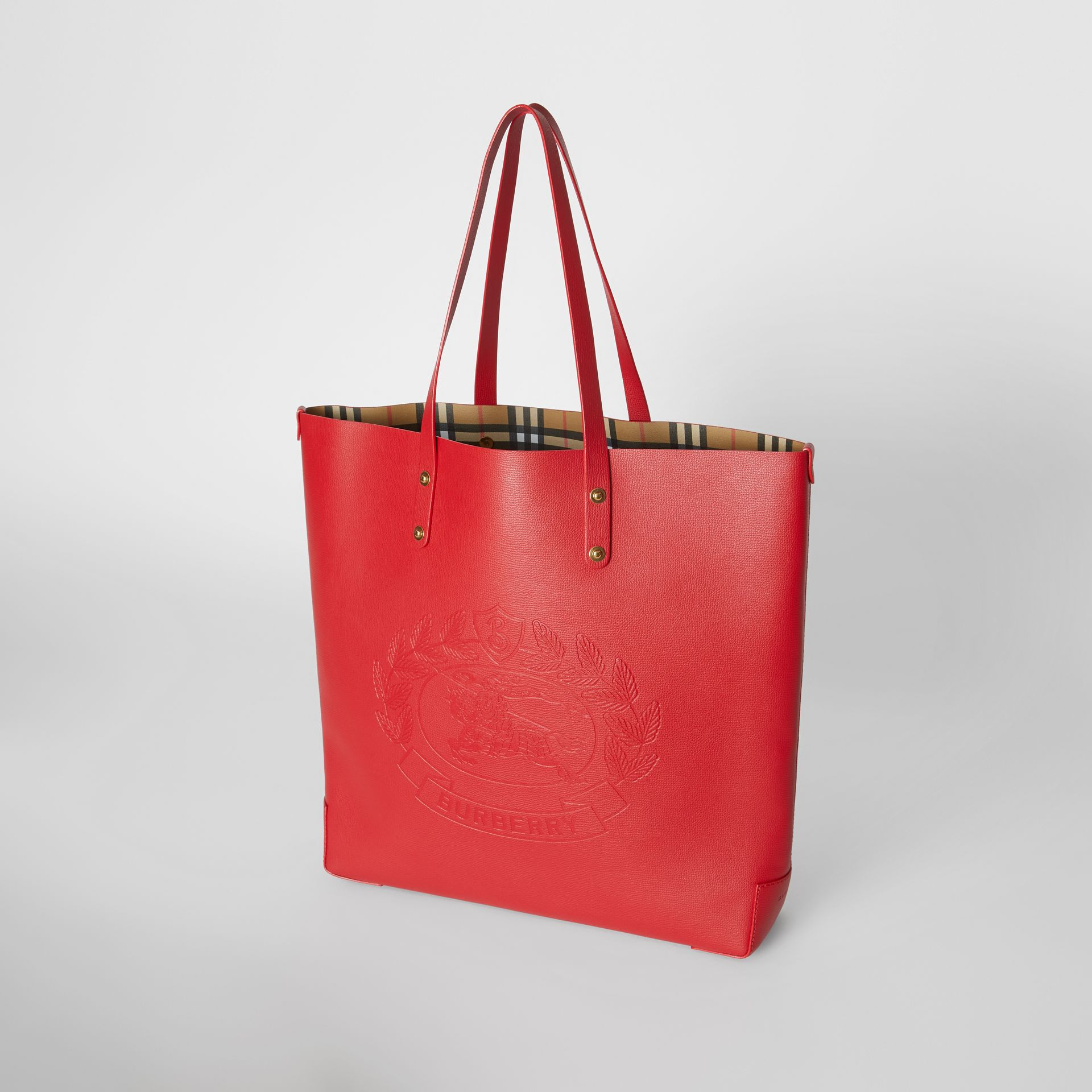 Large Embossed Crest Leather Tote in Rust Red - Women | Burberry - gallery image 3