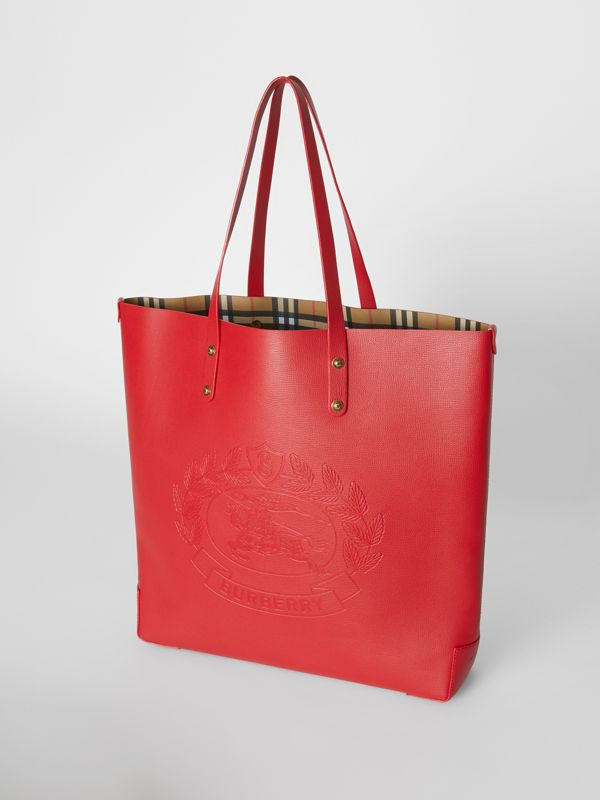 Large Embossed Crest Leather Tote in Rust Red - Women | Burberry - cell image 3