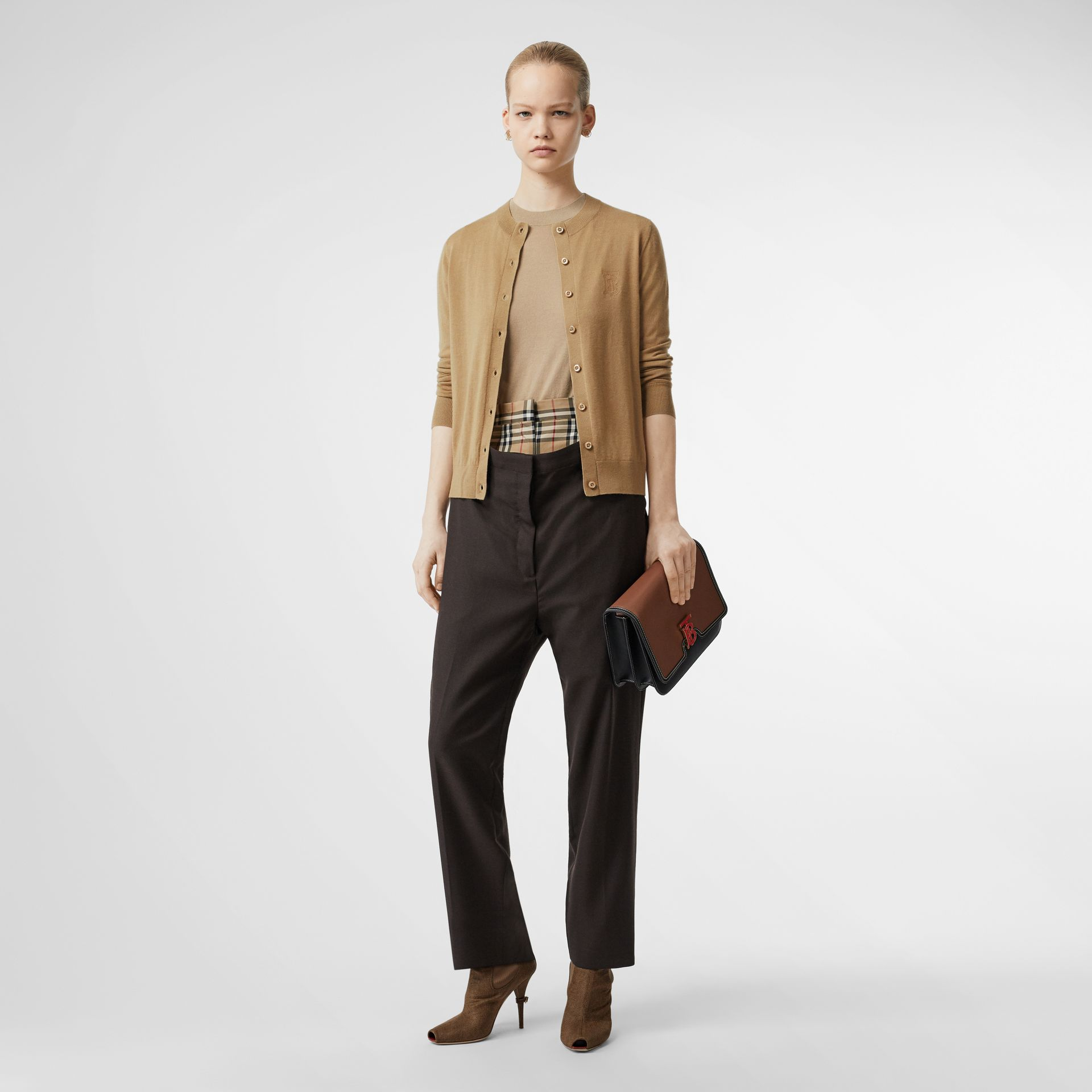Monogram Motif Cashmere Cardigan in Camel - Women | Burberry - gallery image 0