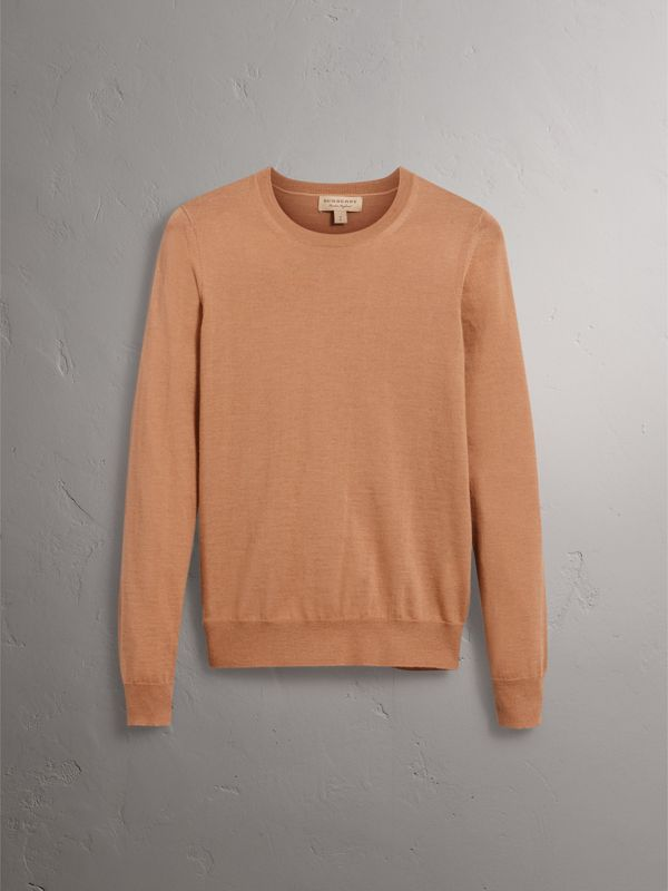 Check Detail Merino Wool Sweater in Camel - Women | Burberry - cell image 3