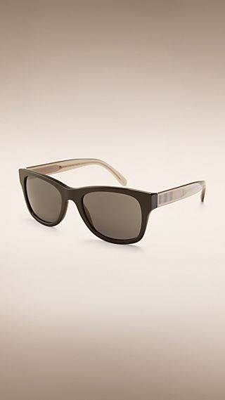 Check Detail Square Frame Sunglasses
