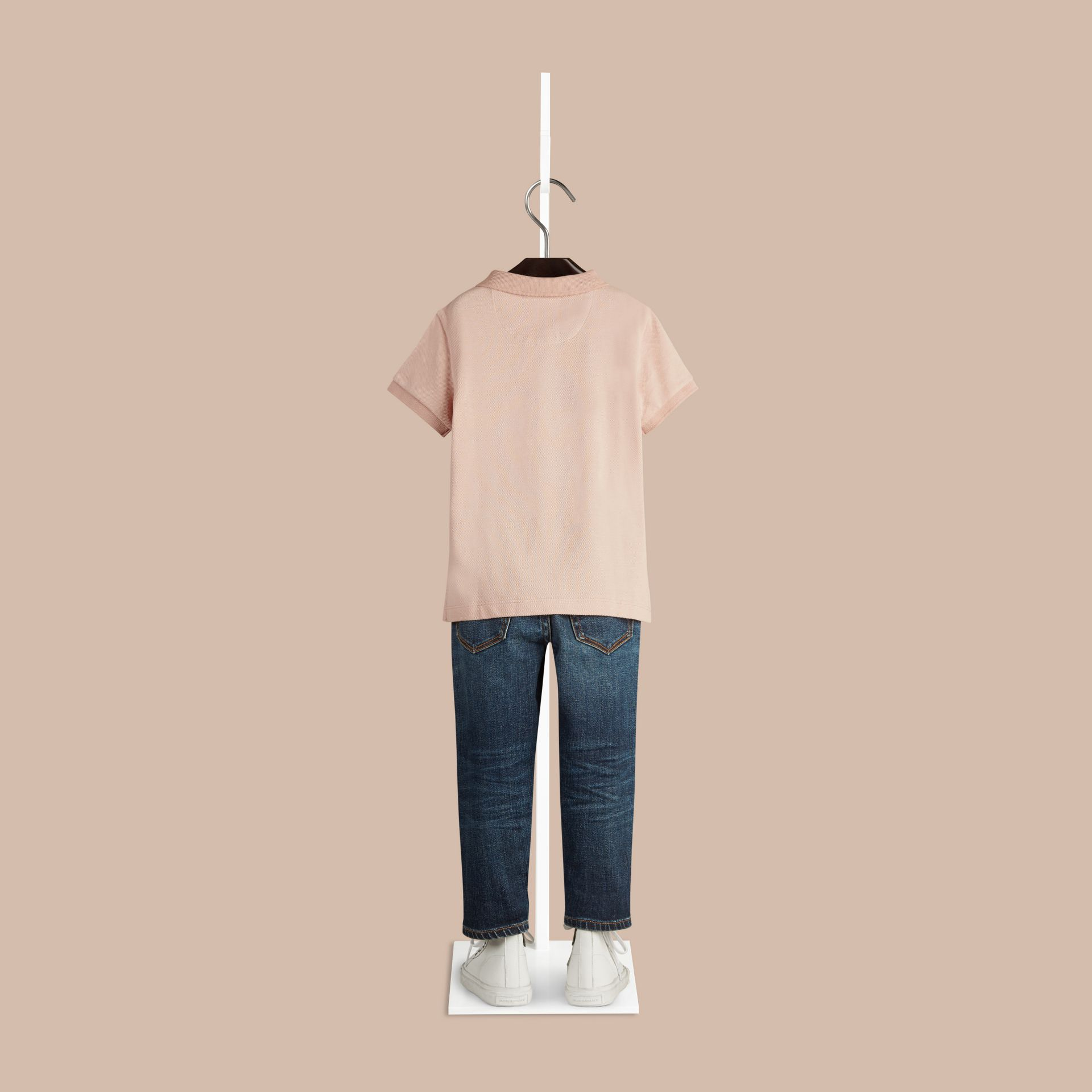 Chalk pink Check Placket Polo Shirt - gallery image 2