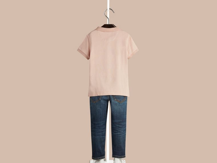 Chalk pink Camisa polo com tira de botões xadrez - cell image 1