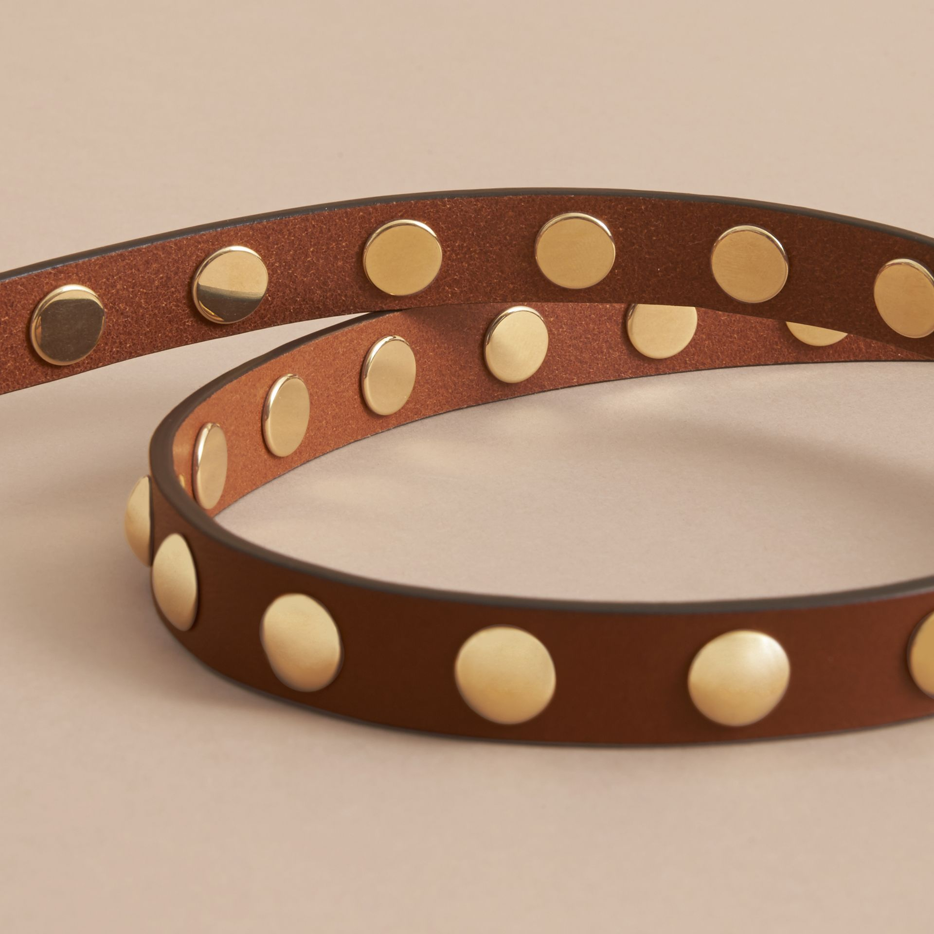 Studded Bridle Leather Double-wrap Belt in Tan - Women | Burberry - gallery image 4