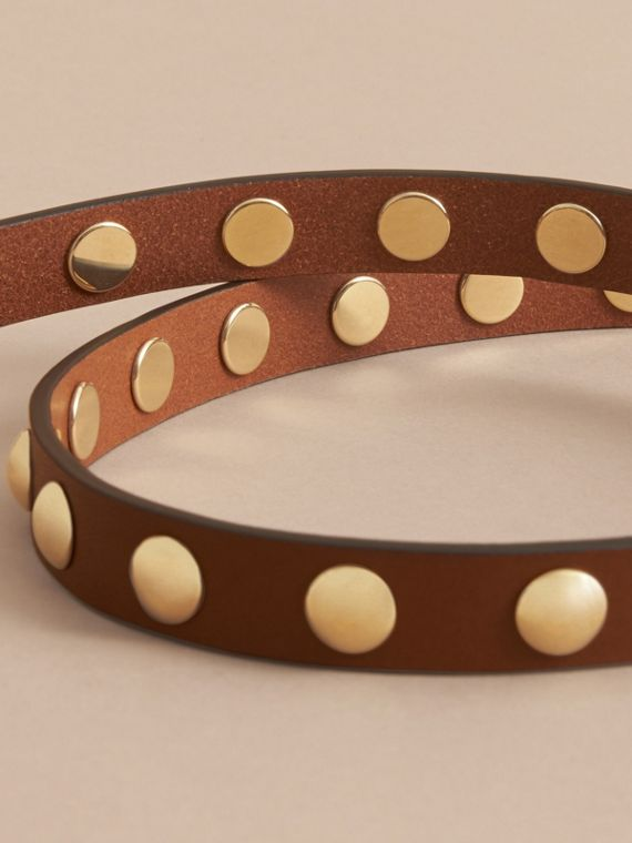 Studded Bridle Leather Double-wrap Belt in Tan - Women | Burberry Australia - cell image 3