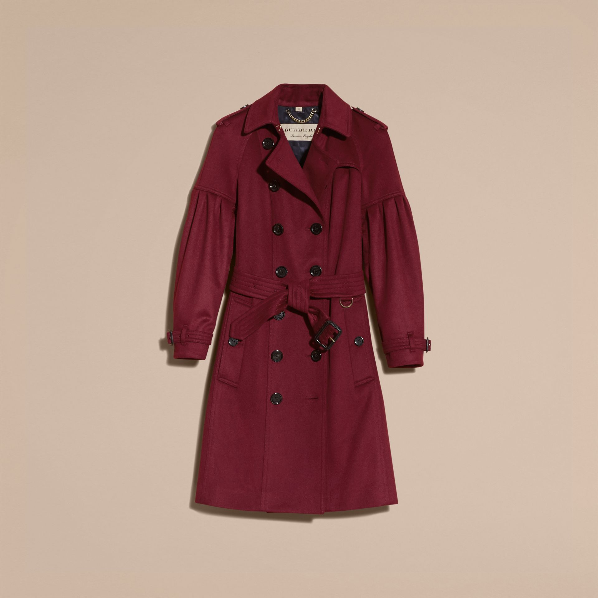Burgundy Cashmere Trench Coat with Puff Sleeves Burgundy - gallery image 4