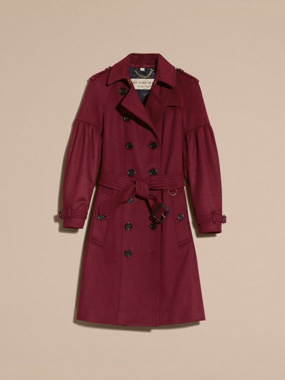 Burgundy Cashmere Trench Coat with Puff Sleeves Burgundy - cell image 3