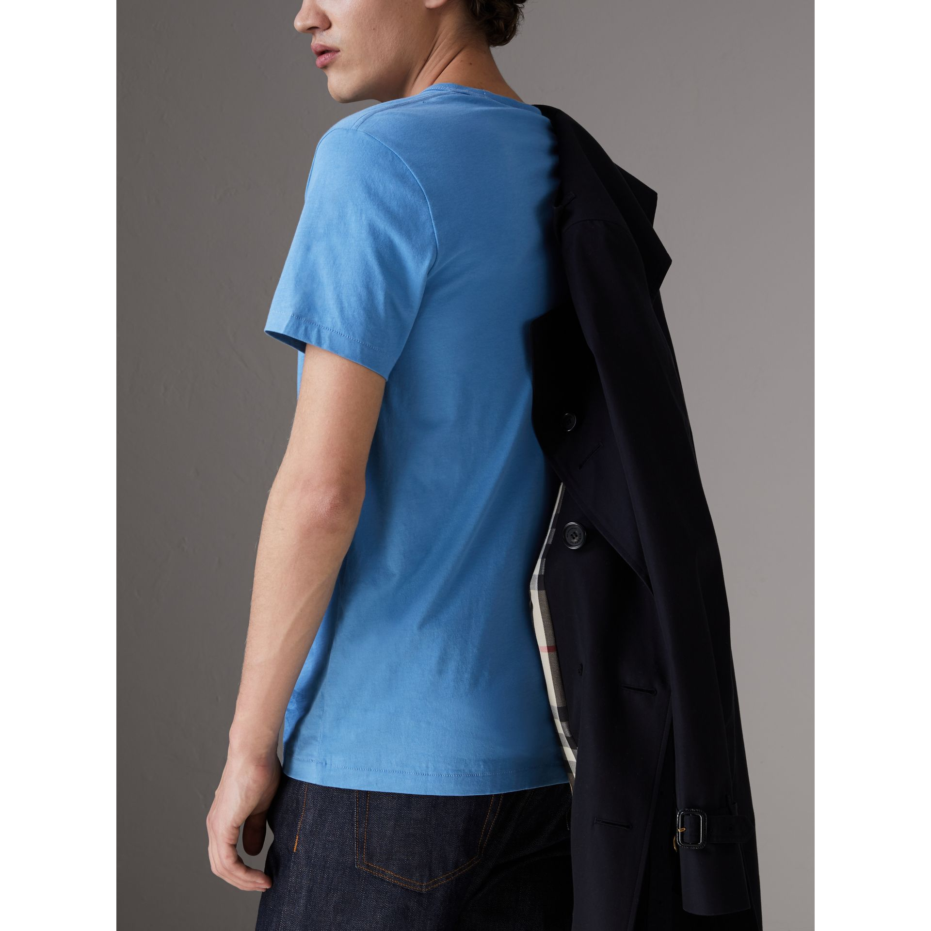 Cotton Jersey T-shirt in Light Azure - Men | Burberry United States - gallery image 2